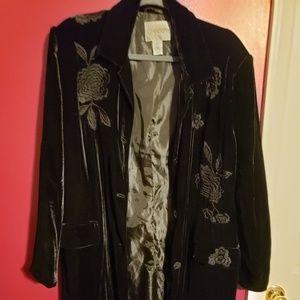 CHICO'S black velvet duster size 3 (XL)